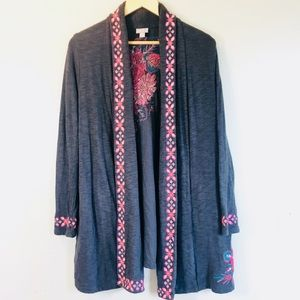 J Jill Embroidered Gray Shrug Size Med 100% Cotton